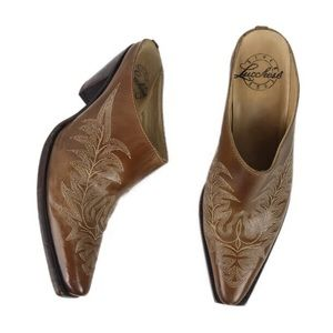 Lucchese Cognac Leather Embroidered Mules Sz 39